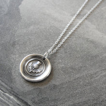 Load image into Gallery viewer, Thistle Wax Seal Necklace In Silver - Scottish heritage emblem jewelry - RQP Studio
