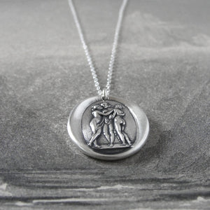 The Three Graces - Silver Wax Seal Necklace Antonio Canova's Charites
