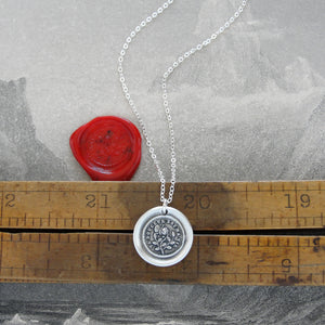 Thy Sweetness Is My Life - Silver Rose Wax Seal Necklace
