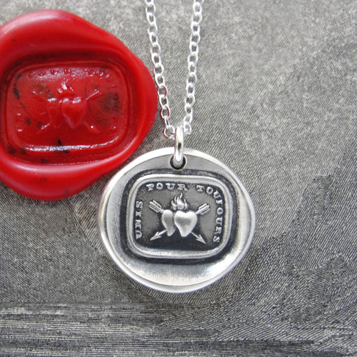 Together Forever - Silver Wax Seal Necklace Love Hearts - RQP Studio