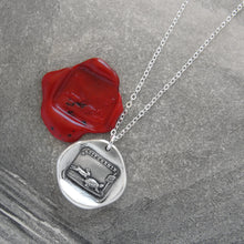 Load image into Gallery viewer, Tortoise And Hare - Silver Wax Seal Necklace Aesop Fable Wax Seal Jewelry - RQP Studio