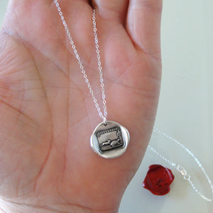 Tortoise And Hare - Silver Wax Seal Necklace Aesop Fable Wax Seal Jewelry - RQP Studio