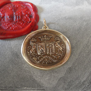 Unicorn Wax Seal Pendant - antique wax seal jewelry pendant Latin motto Courage Virtue Strength - RQP Studio