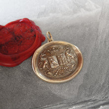Load image into Gallery viewer, Unicorn Wax Seal Pendant - antique wax seal jewelry pendant Latin motto Courage Virtue Strength - RQP Studio