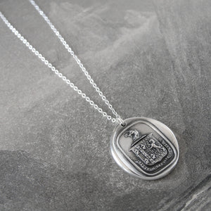 Think For Yourself - Silver Unicorn Wax Seal Necklace - Strength Bravery