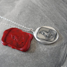 Load image into Gallery viewer, Silver Unicorn Wax Seal Necklace - Persevering And Faithful - RQP Studio