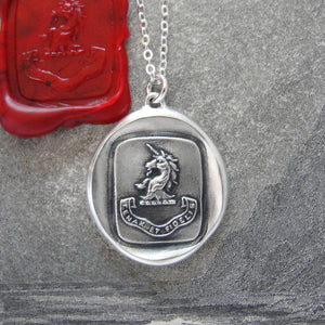 Silver Unicorn Wax Seal Necklace - Persevering And Faithful - RQP Studio