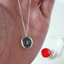 Load image into Gallery viewer, I Trust In The Lord - Silver Unicorn Wax Seal Necklace