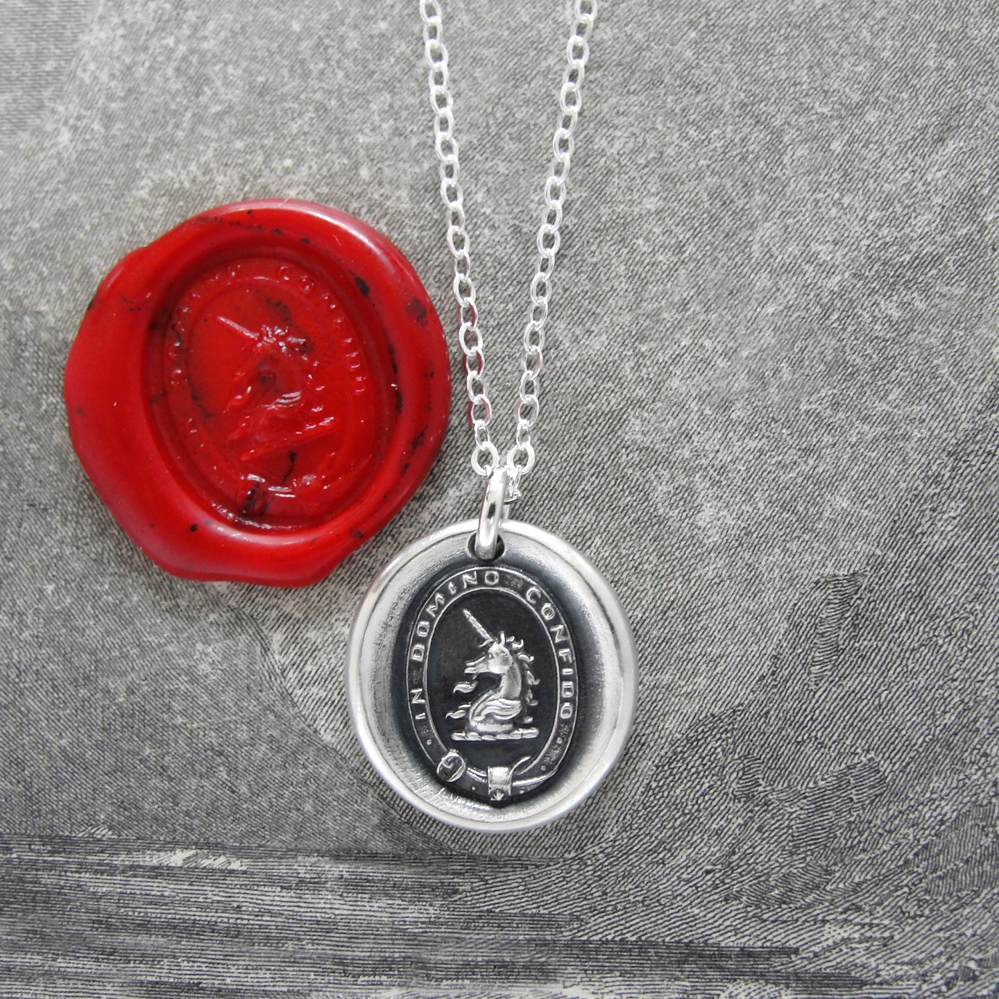 I Trust In The Lord - Silver Unicorn Wax Seal Necklace