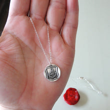 Load image into Gallery viewer, Reason Contents Me - Silver Wings Wax Seal Necklace Protection