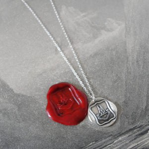 Reason Contents Me - Silver Wings Wax Seal Necklace Protection