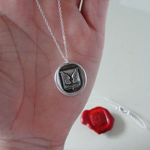 Mount Up - Protection Wings Silver Wax Seal Necklace - RQP Studio