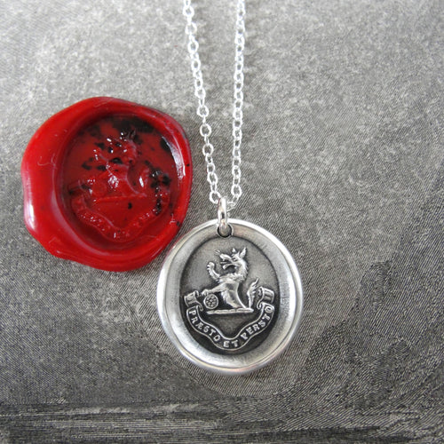 I Undertake And Persevere - Silver Wolf Wax Seal Necklace - RQP Studio