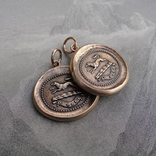 Load image into Gallery viewer, Wolf Wax Seal Pendant - I Dare - Bronze Wax Seal Jewelry - RQP Studio