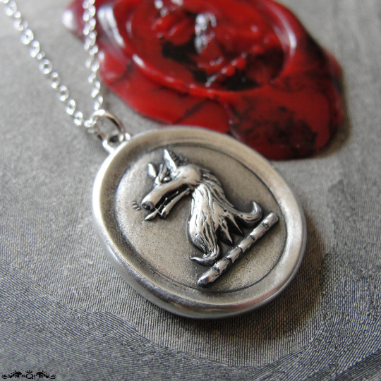 Silver Wolf Wax Seal Necklace - Courage antique wax seal jewelry wolf heraldic crest - RQP Studio