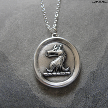 Load image into Gallery viewer, Silver Wolf Wax Seal Necklace - Courage antique wax seal jewelry wolf heraldic crest - RQP Studio