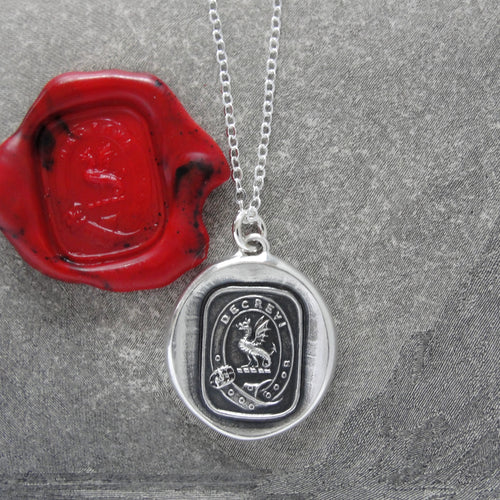 I Have Resolved - Silver Wyvern Wax Seal Necklace - Protection Valor - RQP Studio
