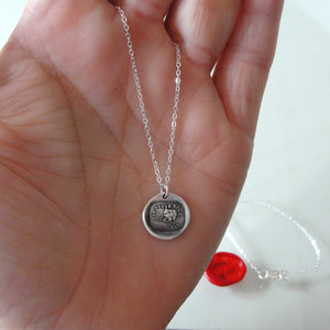 Silver Wax Seal Necklace - I Defy - Zeus Thunderbolt - RQP Studio