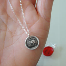 Load image into Gallery viewer, Silver Wax Seal Necklace - I Defy - Zeus Thunderbolt - RQP Studio