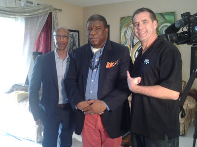 Master Daniel Austin with Mr James Donohue & Mr Eric Powell, Producer Managers at BECON TV (Broward County Public School)