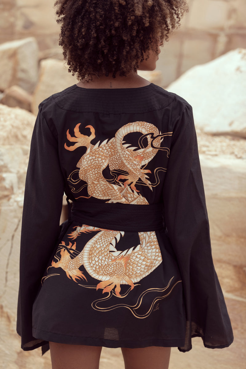 Closeup of statement dragon print Drakaina on The Isabelle by Robe luxury resort wear