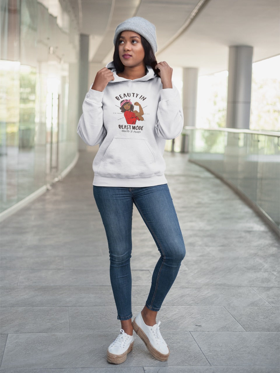 release date 3fb42 0d435 Straight Hair Beauty In Beast Mode Pullover Hoodie