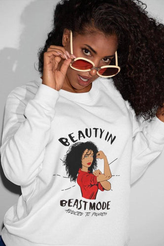 Curly Hair Beauty In Beast Mode L/S Sweatshirt