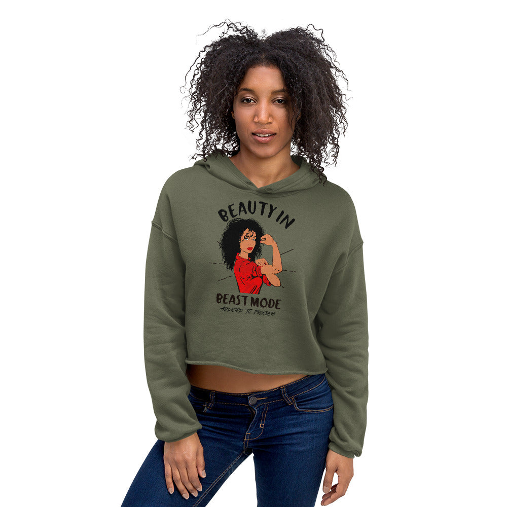 Curly Hair Beauty In Beast Mode Crop Hoodie