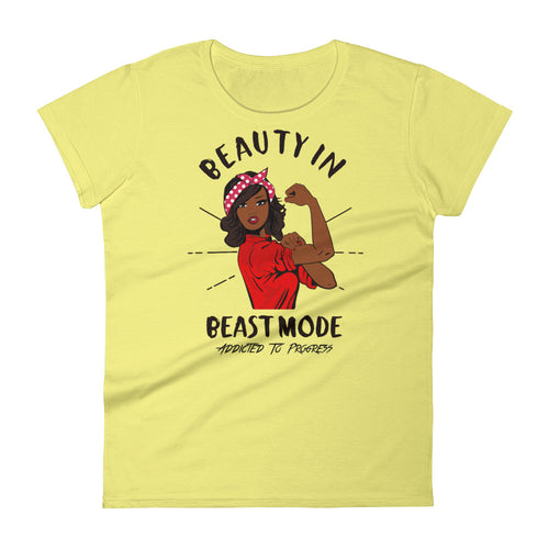 Straight Hair Beauty In Beast Mode Crew Neck Tee