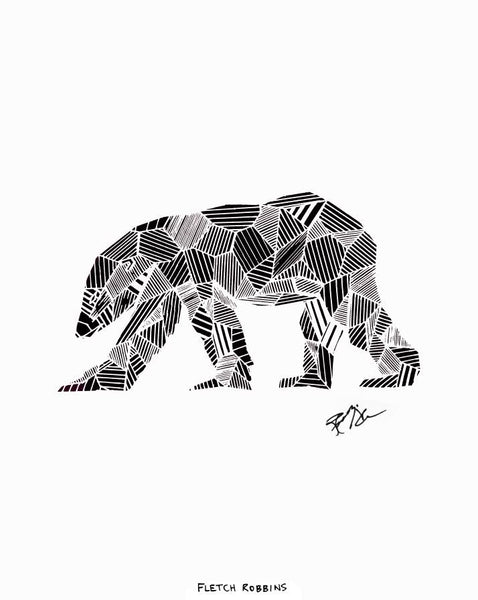 black geometric polar bear wall art