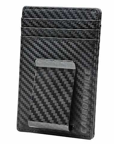 Black Real Carbon Fiber Money Clip + Wallet