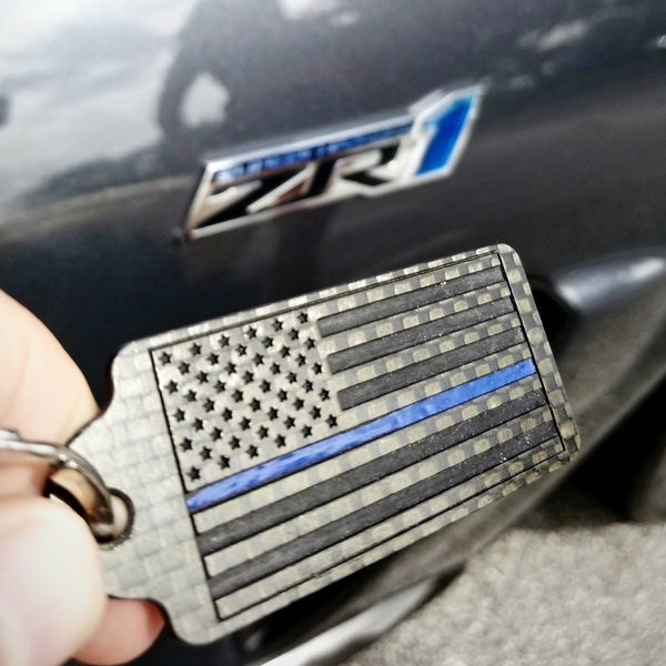 American Flag Thin Blue Line Carbon Fiber Key Chain