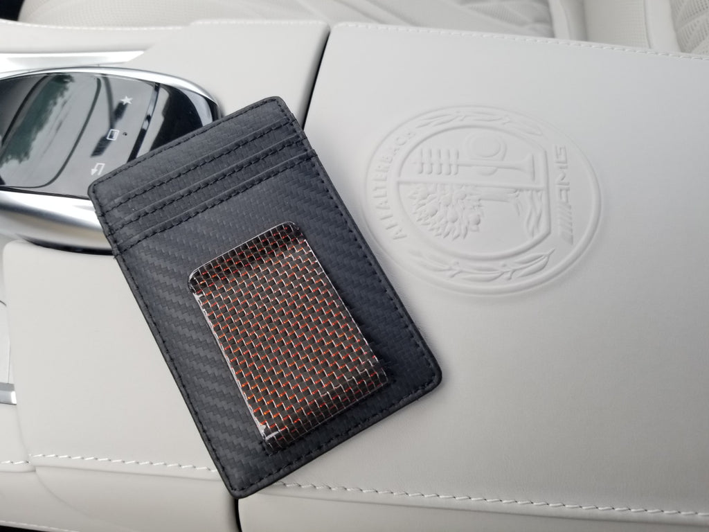 Carbon Wallet with Red 38 mm Carbon Fiber Money Clip