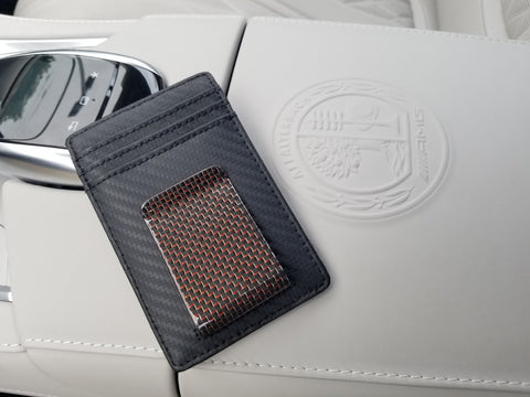 Carbon Fiber Wallet with Red Money Clip