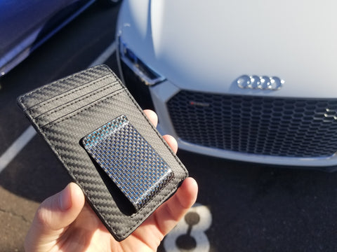 Carbon Fiber Wallet with Blue Money Clip