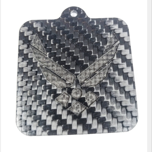 US Air Force USAF Laser Engraved Pure Carbon Fiber Keychain