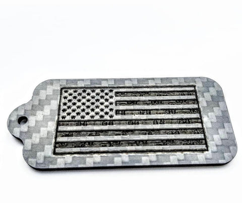 Laser Engraved USA American Flag Pure Carbon Fiber Keychain