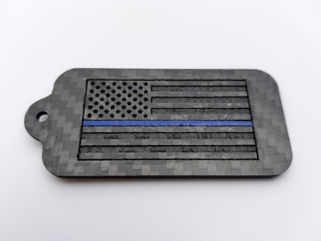 Thin Blue Line American Flag Laser Engraved Pure Carbon Fiber Keychain