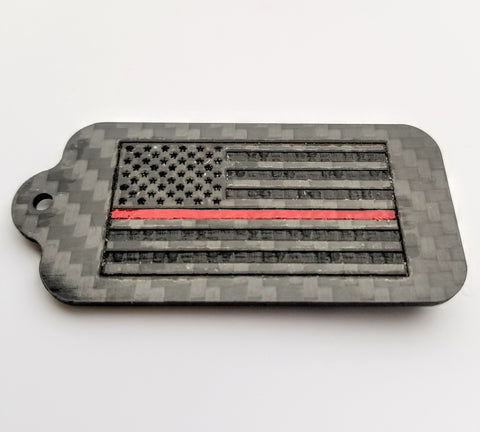 Thin Red Line American Flag Laser Engraved Pure Carbon Fiber Keychain