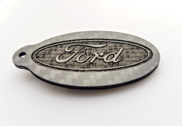 Ford Laser Engraved Pure Carbon Fiber Keychain