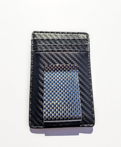 Blue Real Carbon Fiber Money Clip + Wallet