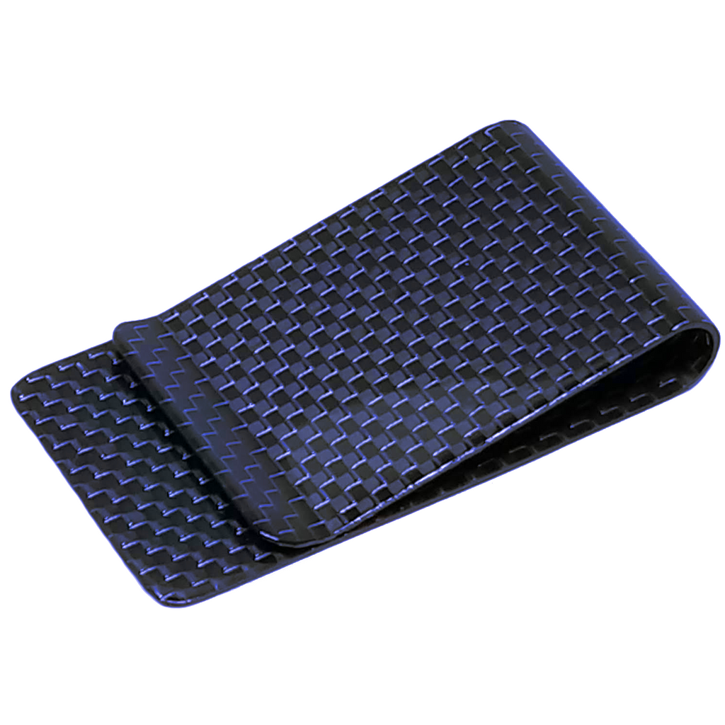 Blue 38 mm Carbon Fiber Money Clip