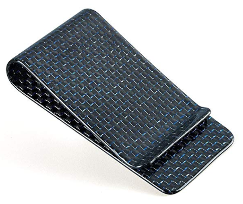 Carbon Fiber Money Clip - Blue Kevlar