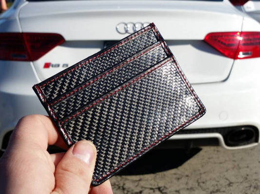 Carbon Fiber Slim Wallet - RED stitching