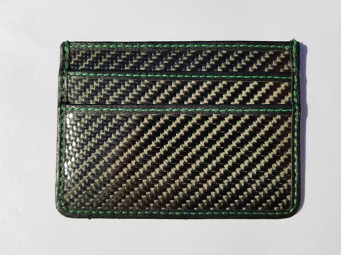 Carbon Fiber Slim Wallet - GREEN stitching
