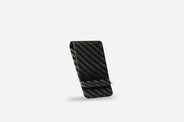 Black 38 mm Carbon Fiber Money Clip - Glossy
