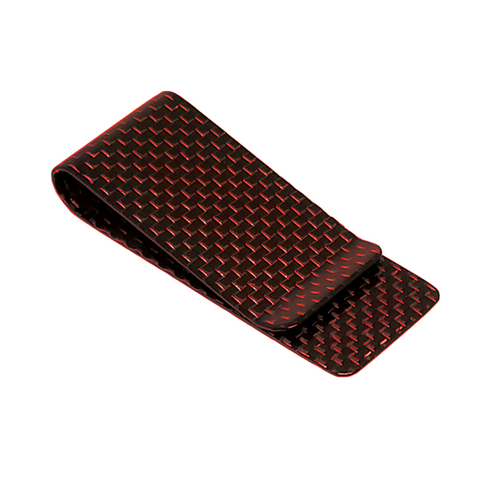 Red 28 mm Carbon Fiber Money Clip