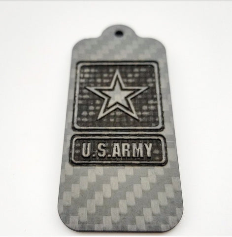 Laser Engraved US ARMY Pure Carbon Fiber Keychain