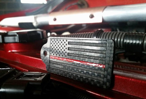 American Flag Thin Red Line Carbon Fiber Key Chain