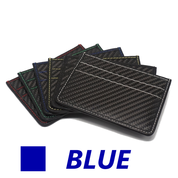 Carbon Fiber Slim Wallet - BLUE stitching